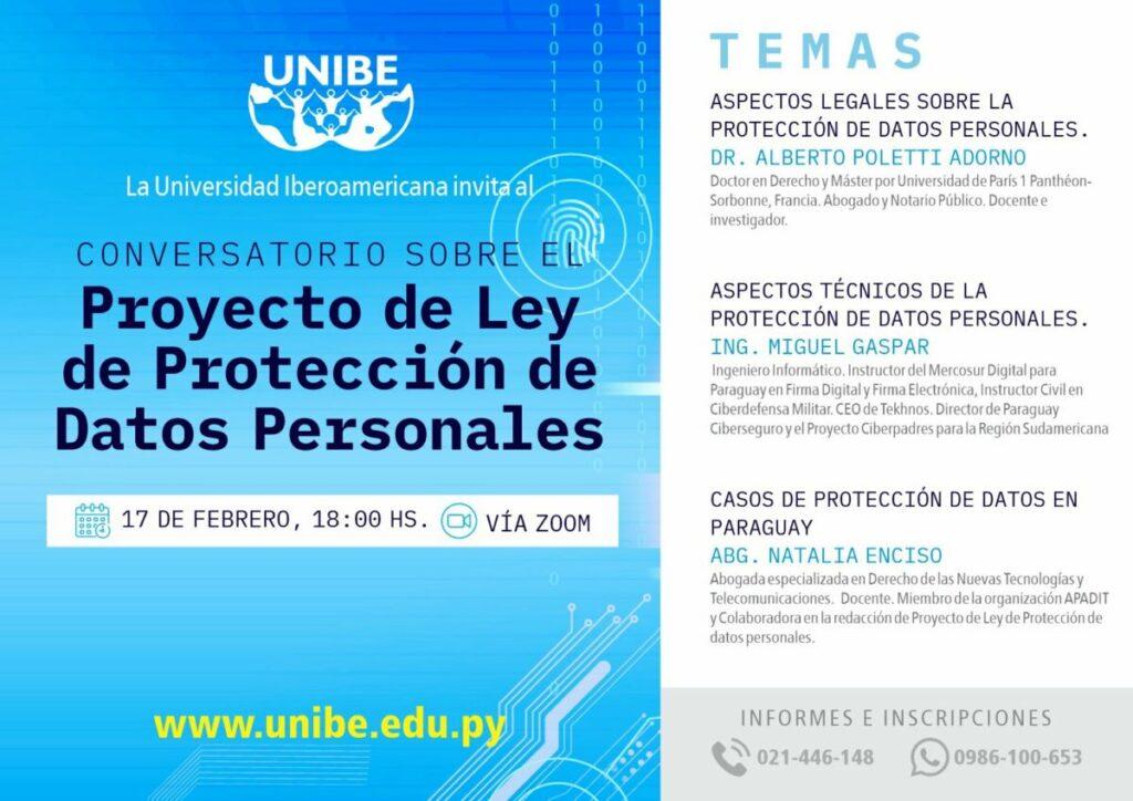Flyer invitación Proyecto de ley de protección de datos personales